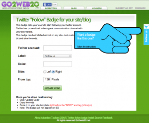 "Twitter ""Follow"" Badge (http://www.go2web20.net/twitterFollowBadge/)"